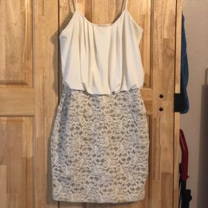 Sweet Storm White and Beige Fitted Lace Dress